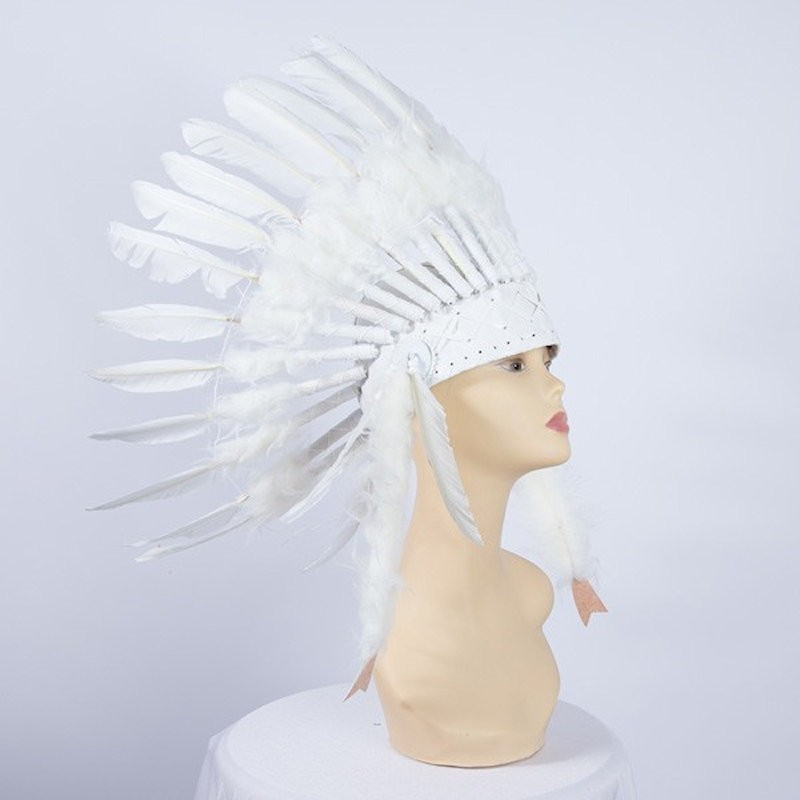 Indian Feathered Headpiece Small White