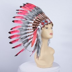 Indian Feathered Headpiece Small Red