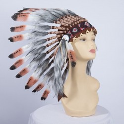 Indian Feathered Headpiece Small Brown