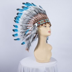 Indian Feathered Headpiece Small Blue