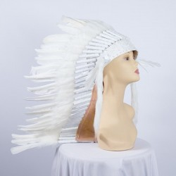 Indian Feathered Headpiece Medium White