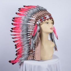 Indian Feathered Headpiece Medium Red