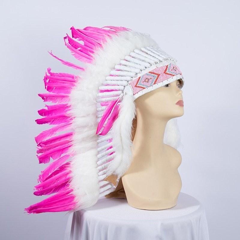 Indian Feathered Headpiece Medium Pink