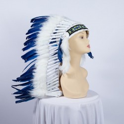 Indian Feathered Headpiece Medium Blue