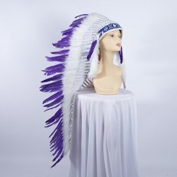 Indian Feathered Headpiece Long Purple
