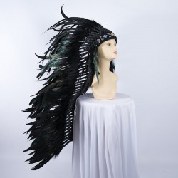 Indian Feathered Headpiece Long Black