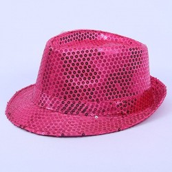 Bargain Sequin Gangster Hat Hot Pink
