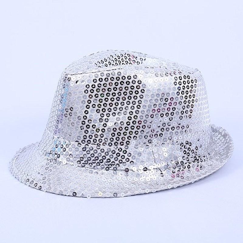 Bargain Sequin Gangster Hat Silver