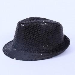 Bargain Sequin Gangster Hat Black