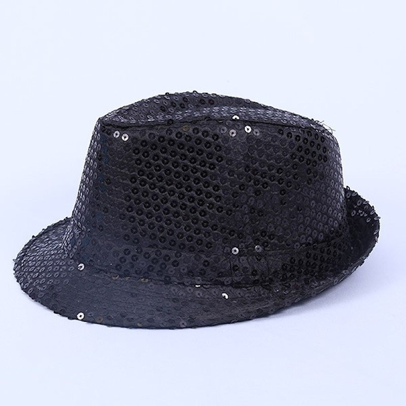 Deluxe Sequin Gangster Hat Black