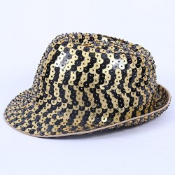 Deluxe Sequin Gangster Hat Gold and Black