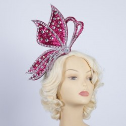 Half Butterfly Headband Hot Pink