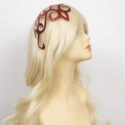 Glitter Lace Hair Clip Red