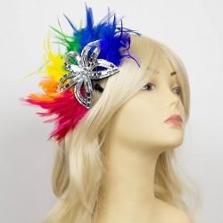 Glitter Flower Rainbow Feathered Hair Clip