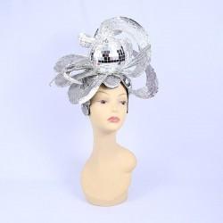 70's Mirror Ball Headpiece Silver
