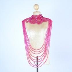 Large Plastic Beaded Choker Hot Pink