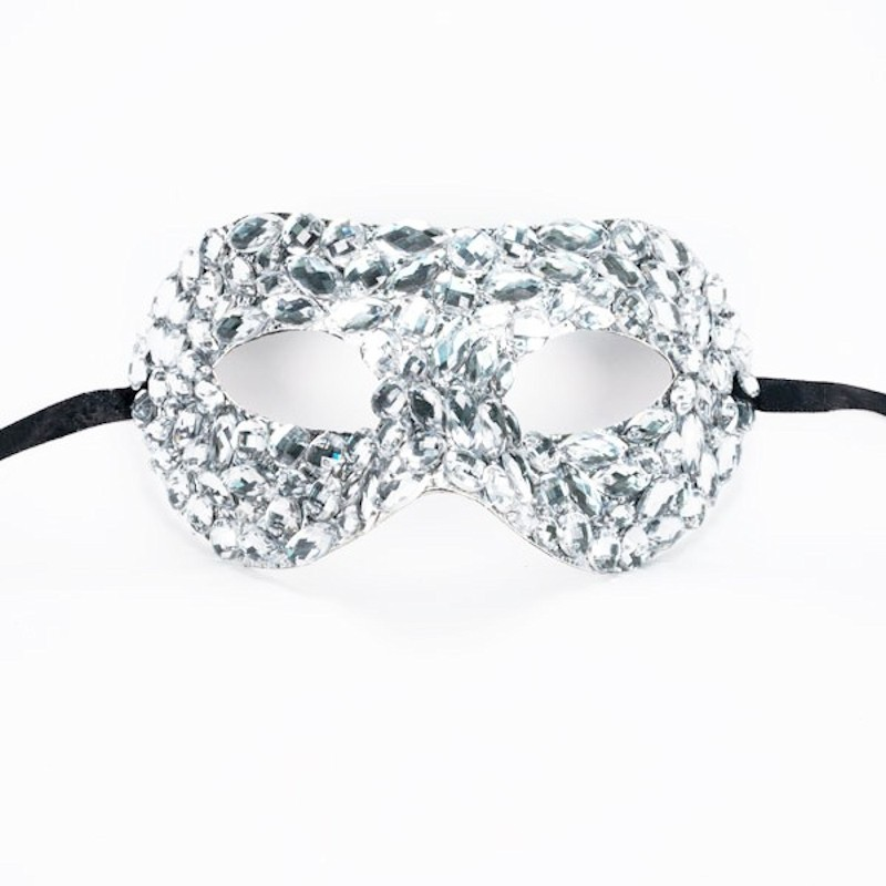 Beaded Mask Silver with Crystal Mirrored Stones