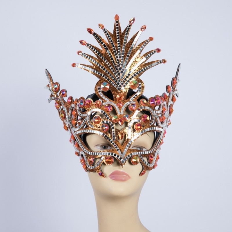 Diamante Party Mask Orange