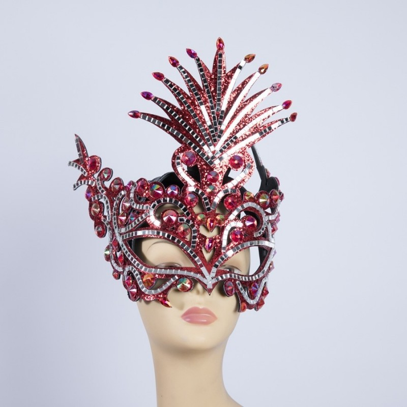 Diamante Party Mask Red