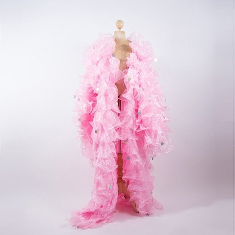 Light Pink Crystal Organza Ruffle Jacket with Penny Sequins
