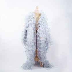 Organza Ruffle Jacket with Penny Sequins Silver