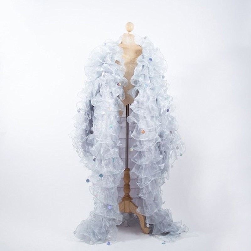 Silver Crystal Organza Ruffle Jacket with Penny Sequins