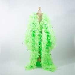 Organza Ruffle Jacket Lime Green with Penny Sequins