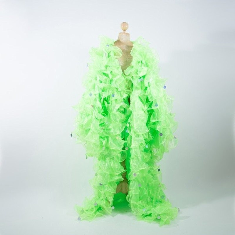 Lime Green Crystal Organza Ruffle Jacket with Penny Sequins
