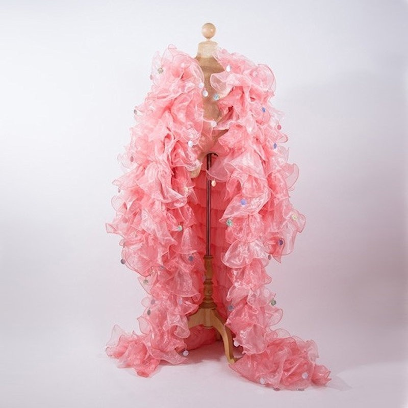 Organza Ruffle Jacket Antique Pink with Penny Sequins
