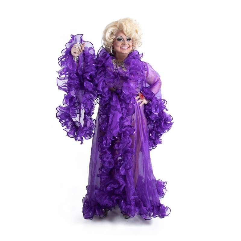 Purple Crystal Organza Transparent Ruffle Jacket