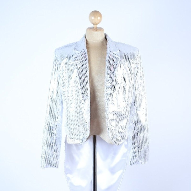 Silver Sequin Tails Jacket