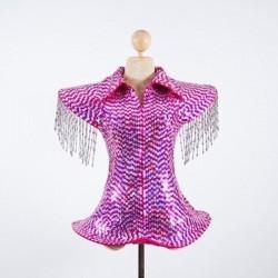 Purple Sequin Ga Ga Jacket with Silver Fringe Beading
