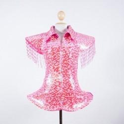 Hot Pink Sequin Ga Ga Jacket with Silver Fringe Beading