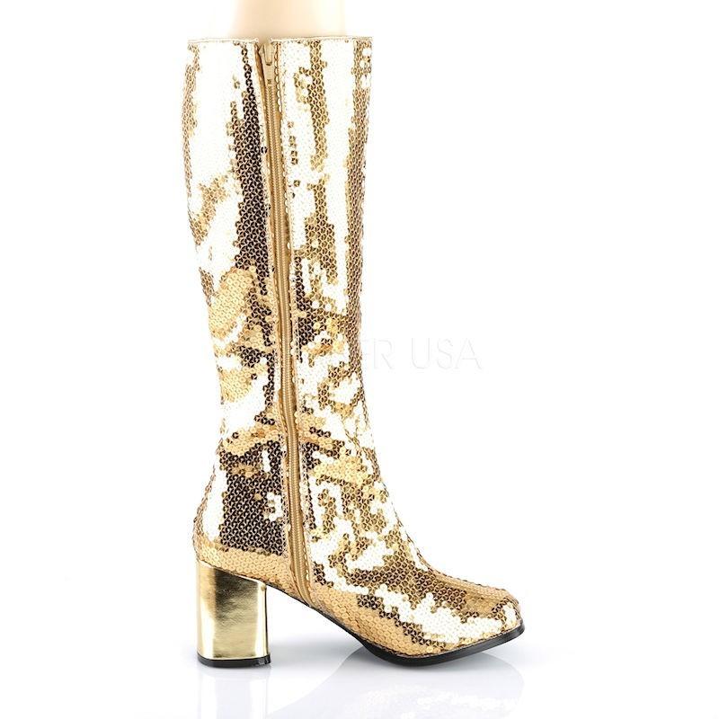 Pleaser Spectacular 300 Sequin Boot Gold