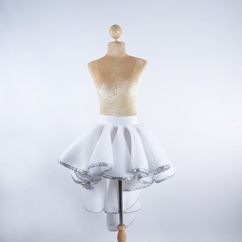 Burlesque Skirt White with Sequin Trim