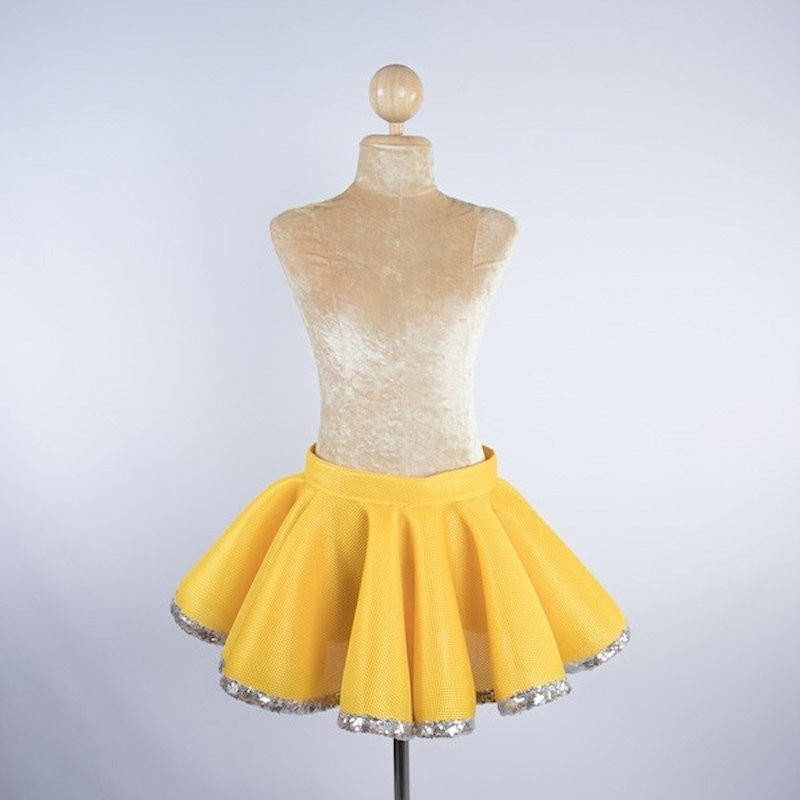 Circle Skirt Yellow with Silver Sequin Trim