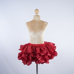 Ruffle Lurex Skirt Red