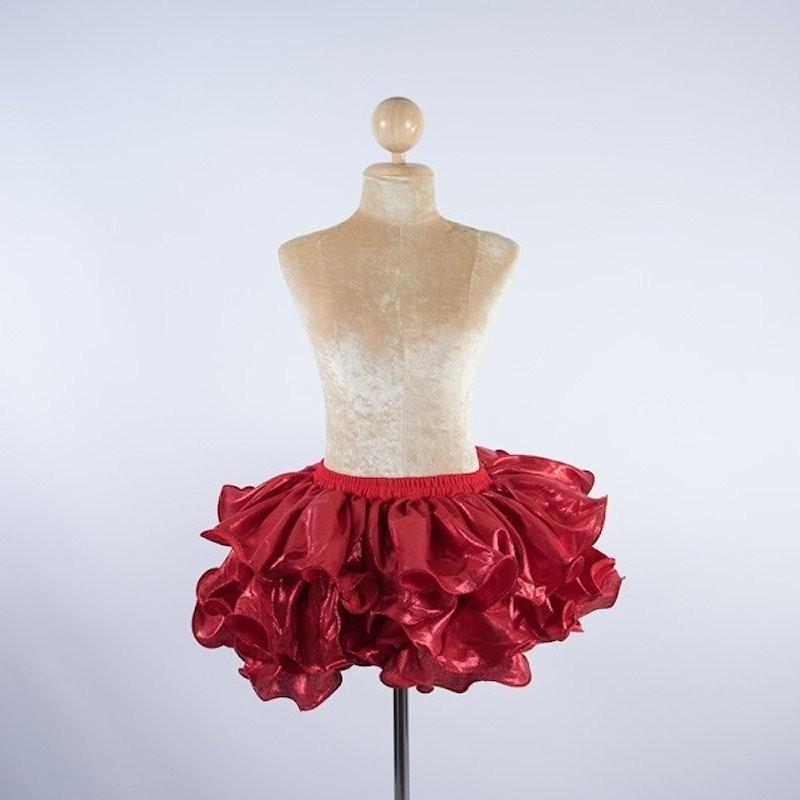 Ruffle Lurex Skirt Red