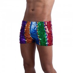Mens Sequin Shorts Rainbow
