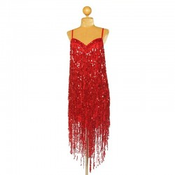 Custom Order Sequin V Fringe Dress Red