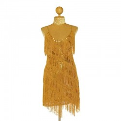 Custom Order Stretch Sequin Fringe Dress Gold