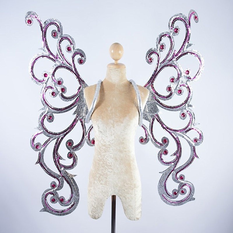 Silver Glitter Butterfly Wings with Hot Pink Sequin Trim and Stones