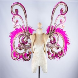 Pink Glitter Wings with Mirror and Hot Pink Feather Trim