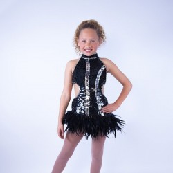 Ally Sequin Feather Dress Black