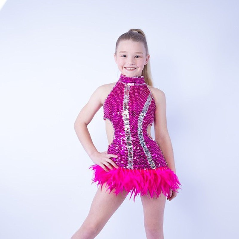 Ally Sequin Feather Dress Hot Pink