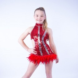 Ally sequin Feather Dress Red