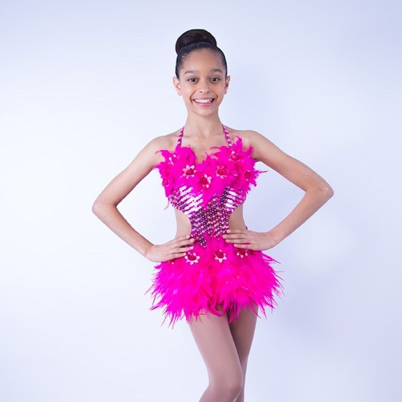 Simone Sequin Feather Flower leotard and Skirt Set Hot Pink