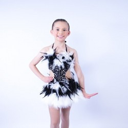 Feather Dress No 8 Black and White