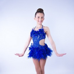 Childrens Feather Dress No 8 Royal Blue