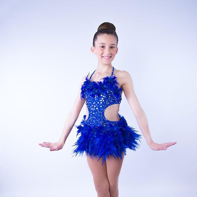 Simone Sequin Feather Flower Leotard and Skirt Set Royal Blue